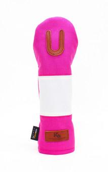 K& HC-Mit COBA ヘッドカバー ピンク、オフホワイト×fieno 記号U UTサイズ ユーティリティ