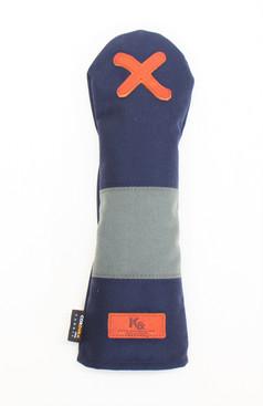 K& HC-Mit COBA ヘッドカバー ネイビー、グレー×fieno 記号X FWサイズ