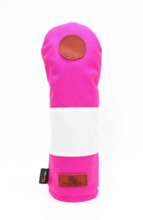 K& HC-Mit COBA ヘッドカバー ピンク、オフホワイト×fieno 記号〇 FWサイズ フェアウェイウッド