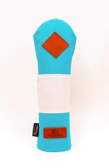 K& HC-Mit COBA ヘッドカバー ターコイズ、オフホワイト×fieno 記号♢ UTサイズ ユーティリティ