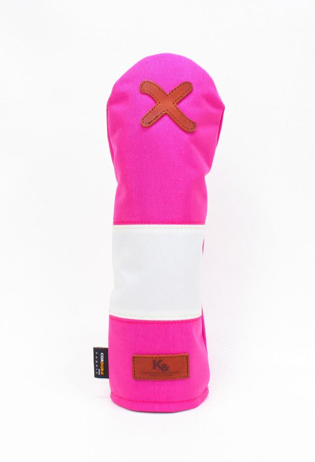 K& HC-Mit COBA ヘッドカバー ピンク、オフホワイト×fieno 記号X FWサイズ フェアウェイウッド