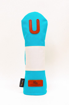 K& HC-Mit COBA ヘッドカバー ターコイズ、オフホワイト×fieno 記号U UTサイズ ユーティリティ