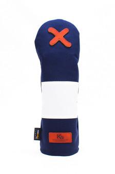 K& HC-Mit COBA ヘッドカバー ネイビー、オフホワイト×fieno 記号X FWサイズ フェアウェイウッド