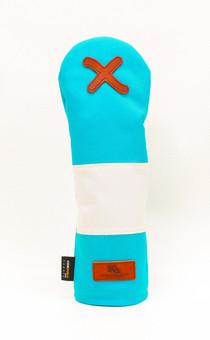 K& HC-Mit COBA ヘッドカバー ターコイズ、オフホワイト×fieno 記号X FWサイズ フェアウェイウッド