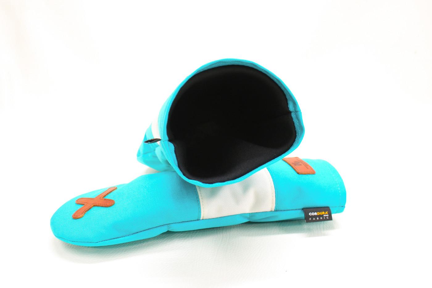 K& HC-Mit COBA ヘッドカバー ターコイズ、オフホワイト×fieno 内装