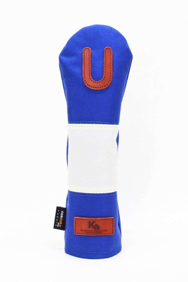 K& HC-Mit COBA ヘッドカバー ブルー、オフホワイト×fieno 記号U UTサイズ ユーティリティ