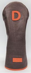 小山ゴルフバック製作所 オリジナルヘッドカバー(日本製)ソフトレザー ハンドメイド ヘッドカバー かわいいカワイイ オシャレ オーダーメイド ダークブラウン 茶色 オレンジ