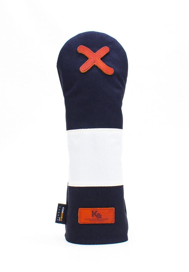 K& HC-Mit COBA ヘッドカバー ブラック、オフホワイト×fieno 記号X FWサイズ フェアウェイウッド