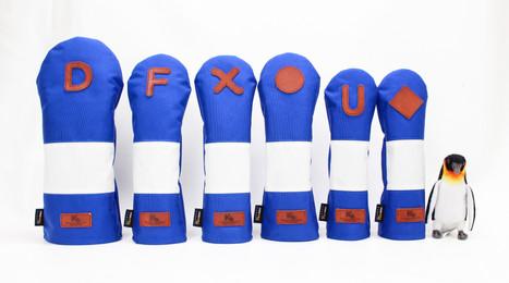 K& HC-Mit COBA ヘッドカバー ブルー、オフホワイト×fieno