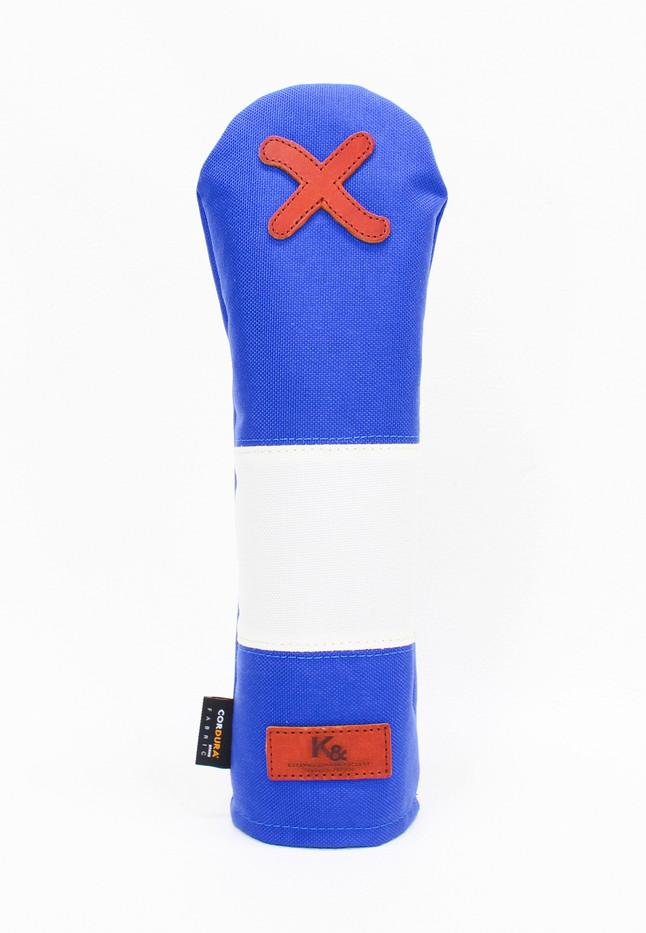 K& HC-Mit COBA ヘッドカバー ブルー、オフホワイト×fieno 記号X FWサイズ フェアウェイウッド