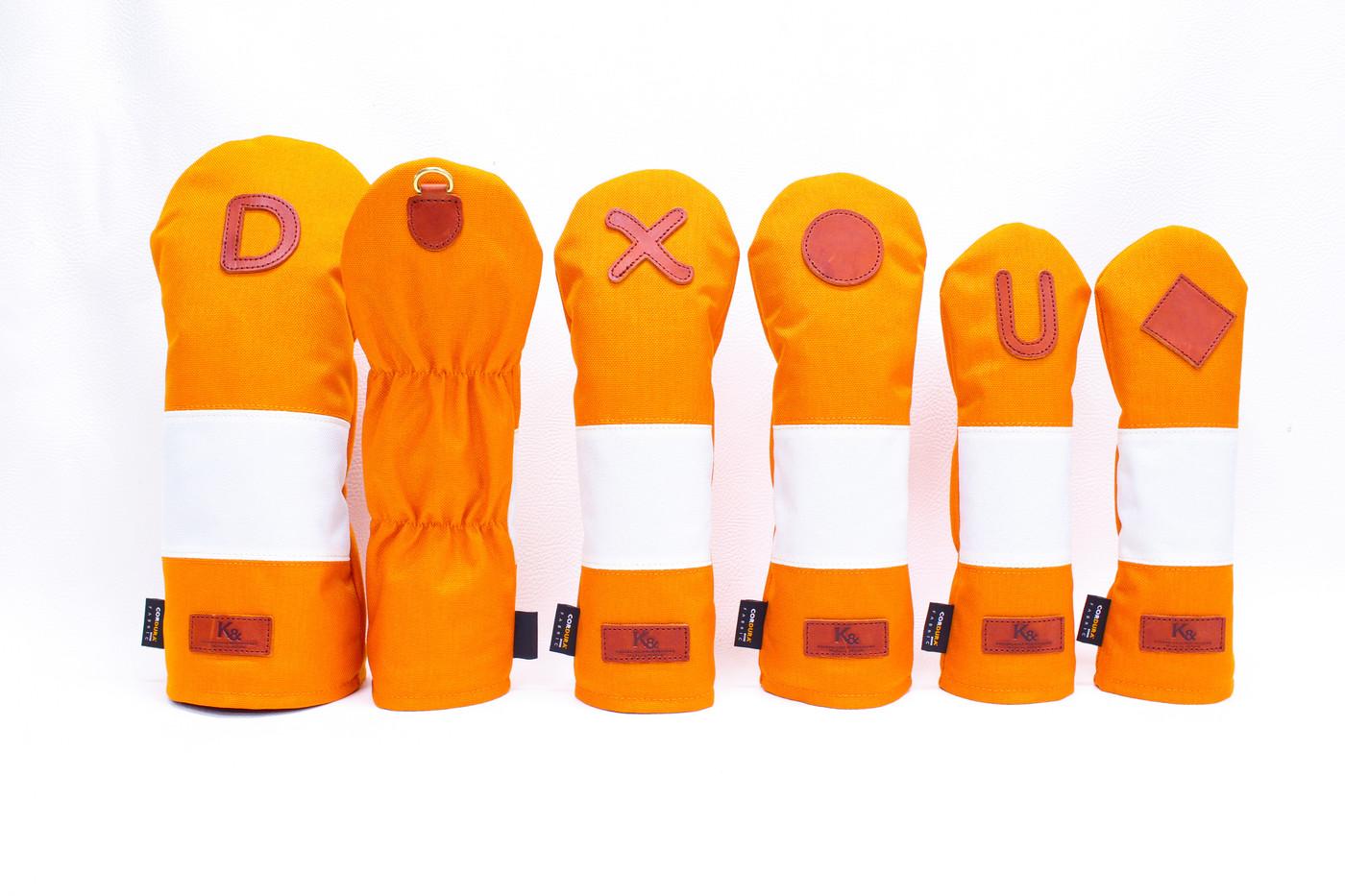 K& HC-Mit COBA ヘッドカバー オレンジ、オフホワイト×fieno 2
