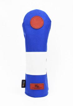 K& HC-Mit COBA ヘッドカバー ブルー、オフホワイト×fieno 記号〇 FWサイズ フェアウェイウッド