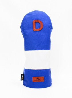 K& HC-Mit COBA ヘッドカバー ブルー、オフホワイト×fieno 記号D ドライバーサイズ