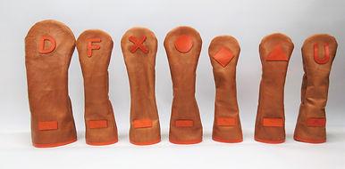 小山ゴルフバック製作所 オリジナルヘッドカバー(日本製)ソフトレザー ハンドメイド ヘッドカバー かわいいカワイイ オシャレ オーダーメイド 茶色 ダークブラウン  オレンジ