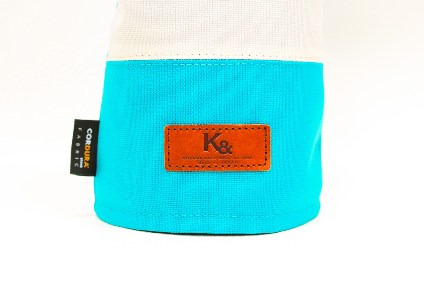 K& HC-Mit COBA ヘッドカバー ターコイズ、オフホワイト×fieno K&マーク