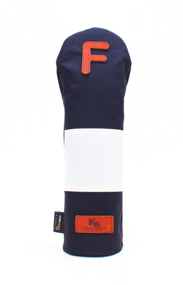 K& HC-Mit COBA ヘッドカバー ブラック、オフホワイト×fieno 記号F FWサイズ フェアウェイウッド