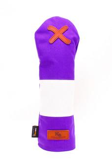 K& HC-Mit COBA ヘッドカバー パープル、オフホワイト×fieno 記号X FWサイズ フェアウェイウッド