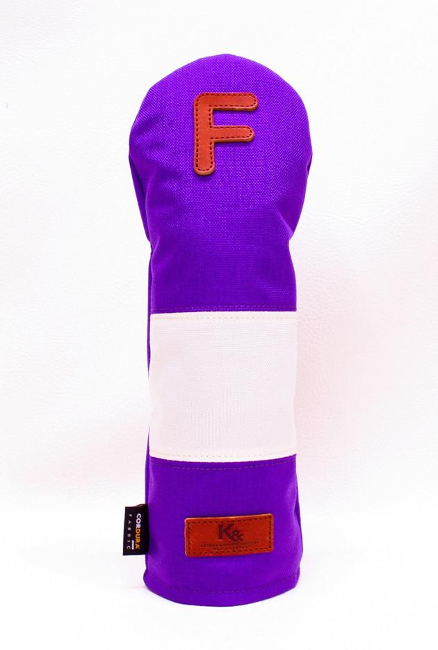 K& HC-Mit COBA ヘッドカバー パープル、オフホワイト×fieno 記号F FWサイズ フェアウェイウッド