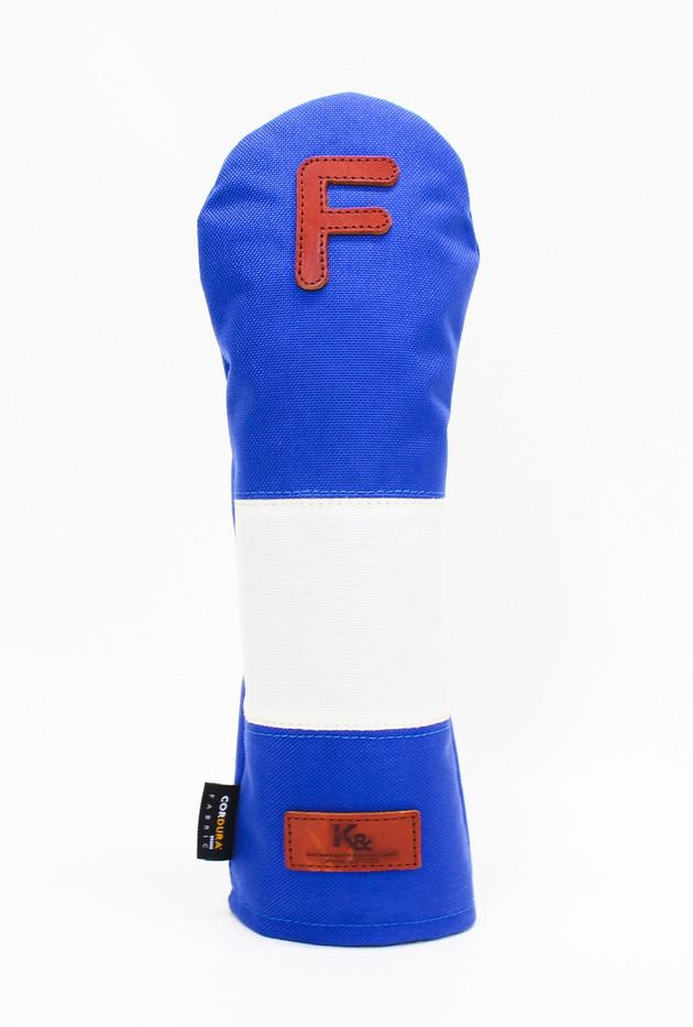K& HC-Mit COBA ヘッドカバー ブルー、オフホワイト×fieno 記号F FWサイズ フェアウェイウッド