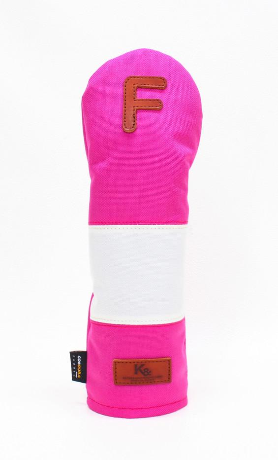 K& HC-Mit COBA ヘッドカバー ピンク、オフホワイト×fieno 記号F FWサイズ フェアウェイウッド