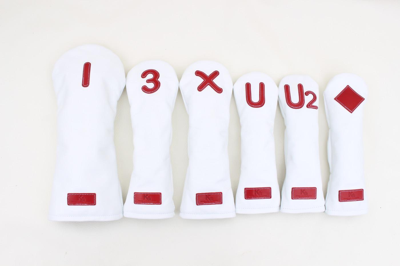 K& HC-Mit 総革ヘッドカバー ホワイト×ホワイト×レッド