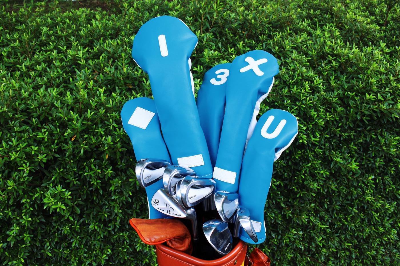 K& HC-Mit 総革ヘッドカバー キャディバッグ ブルー 表  1 3 X