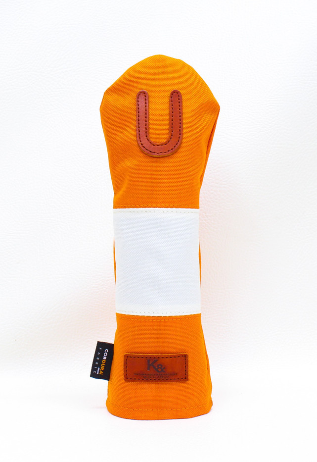 K& HC-Mit COBA ヘッドカバー オレンジ、オフホワイト×fieno 記号U UTサイズ ユーティリティ