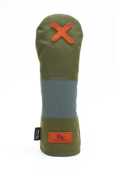 K& HC-Mit COBA ヘッドカバー カーキ、グレー×fieno 記号X FWサイズ フェアウェイウッド