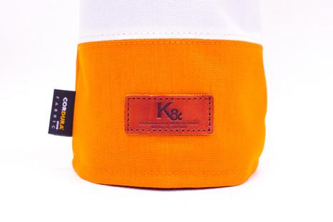 K& HC-Mit COBA ヘッドカバー オレンジ、オフホワイト×fieno K&マーク