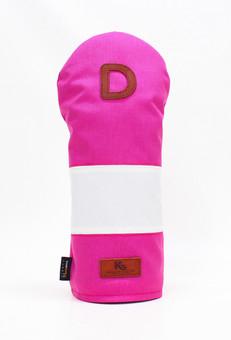 K& HC-Mit COBA ヘッドカバー ピンク、オフホワイト×fieno 記号D ドライバーサイズ