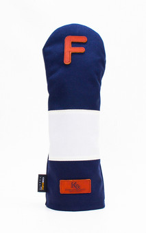 K& HC-Mit COBA ヘッドカバー ネイビー、オフホワイト×fieno 記号F FWサイズ フェアウェイウッド