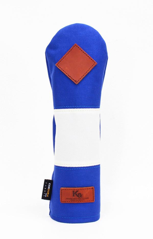 K& HC-Mit COBA ヘッドカバー ブルー、オフホワイト×fieno 記号♢ UTサイズ ユーティリティ