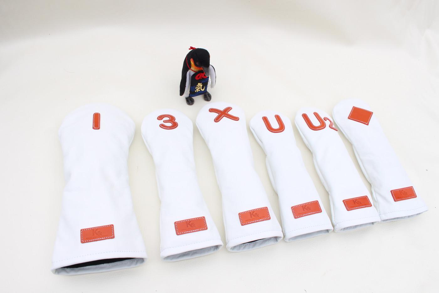 K& HC-Mit 総革ヘッドカバー ホワイト×ホワイト×オレンジ2
