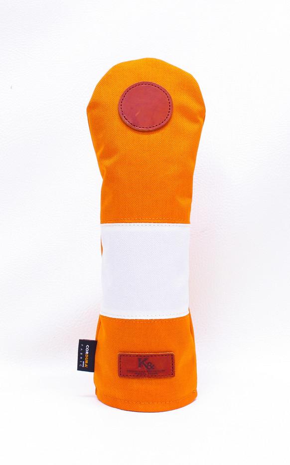 K& HC-Mit COBA ヘッドカバー オレンジ、オフホワイト×fieno 記号〇 FWサイズ フェアウェイウッド