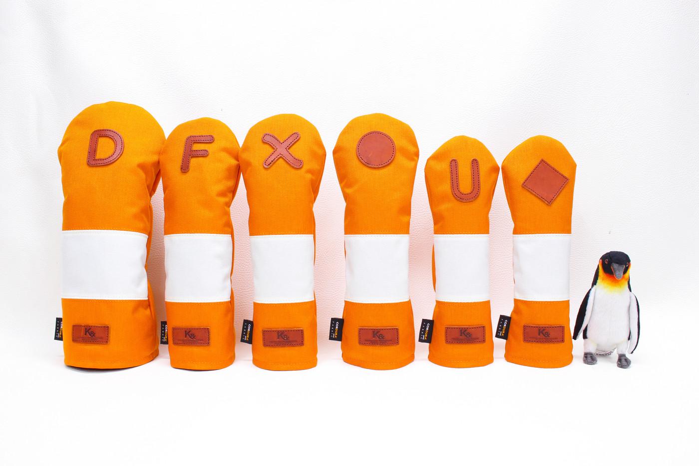 K& HC-Mit COBA ヘッドカバー オレンジ、オフホワイト×fieno