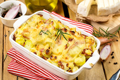 French dish Tartiflette with potatoes, o