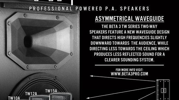Beta Three TW Series Two-Way Powered Speakers.