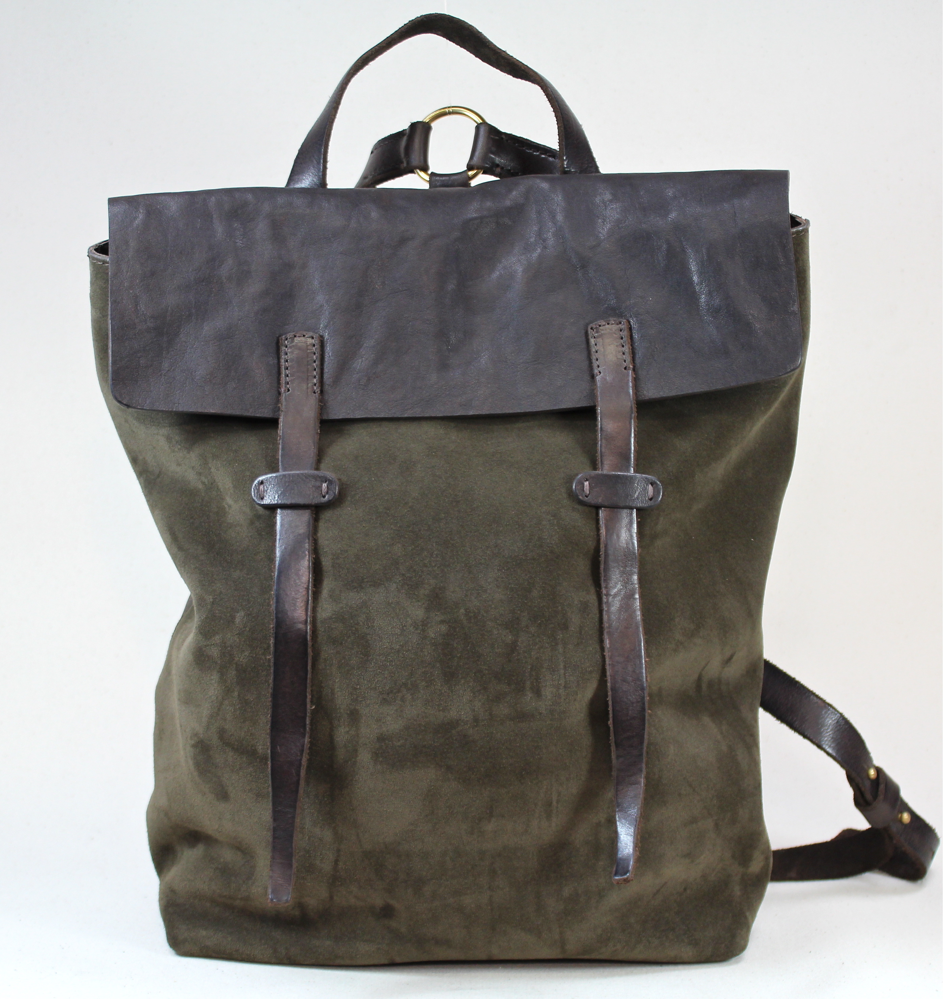Backpack Ziggy art Derby col Oliv Suede and Washed Calf Leather