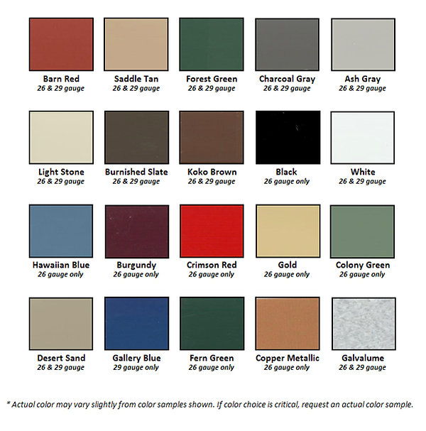Metal roof, metal roofing, color chart