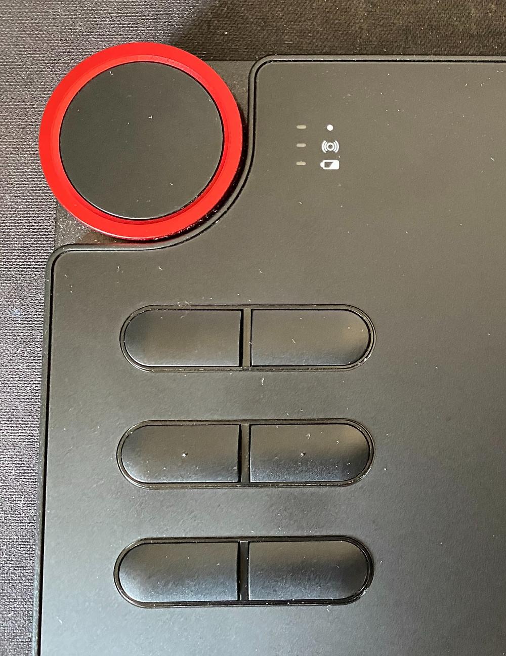 Botões e rodinha de atalhos da mesa