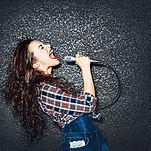 Karaoke party. Time to sing! Crazy casua