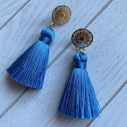 Goldene Ohrringe mit Seidenquasten Chloe