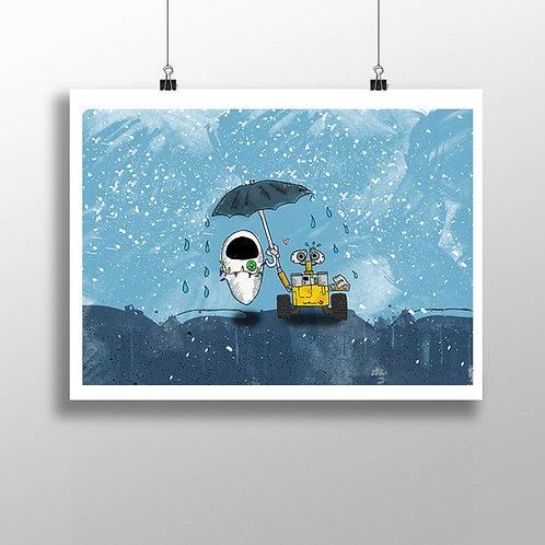Robots In The Rain - Print