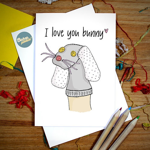 Sock Bunny - Friends Card