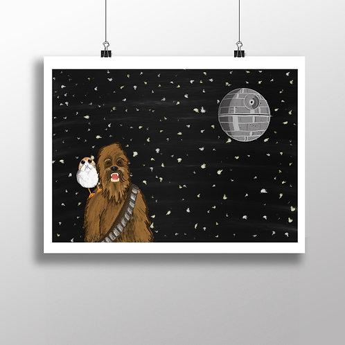 Wookie & Porg - Print