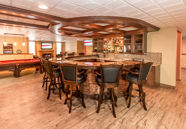Basement bar with lots of seats