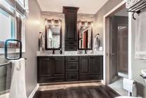 Freshly installed bathroom cabinets