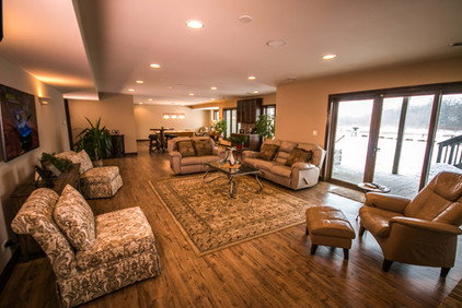 Large basement living space with lots of seating