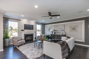 Multi family home living room with fireplace