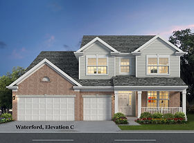 Waterford two story home plan with a three car garage